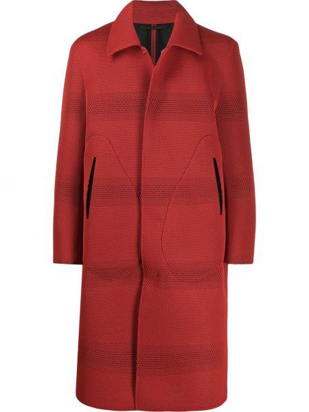 Красное классическое длинное пальто с воротником с карманами Namacheko