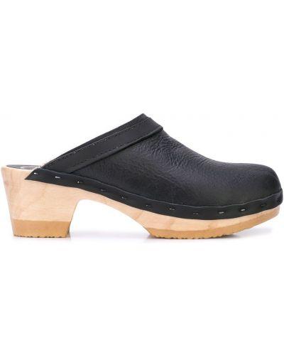 Черные мюли с подкладкой на каблуке No.6