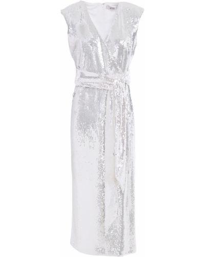 Серебряное трикотажное платье миди с пайетками Badgley Mischka
