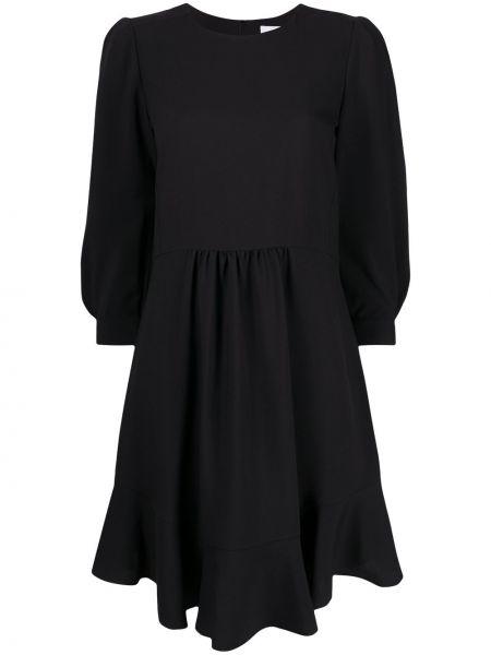 Черное платье с оборками на пуговицах с вырезом Chloé