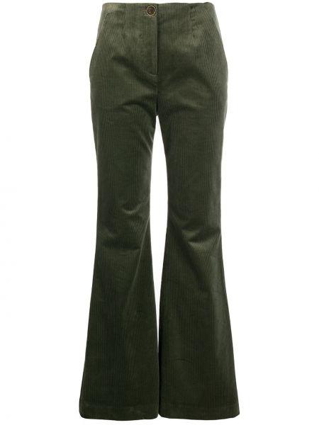Зеленые расклешенные брюки вельветовые на пуговицах Veronica Beard