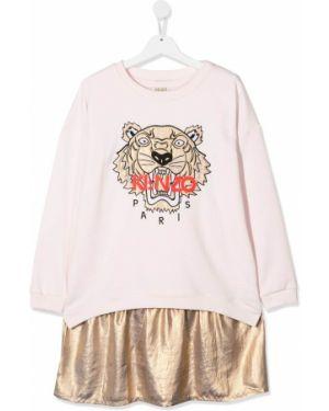 Różowa sukienka mini z długimi rękawami z haftem Kenzo Kids