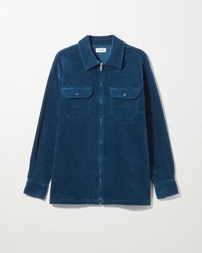 Синяя рубашка на молнии Weekday