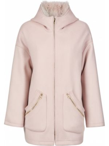 Шерстяное пальто - розовое Diego M