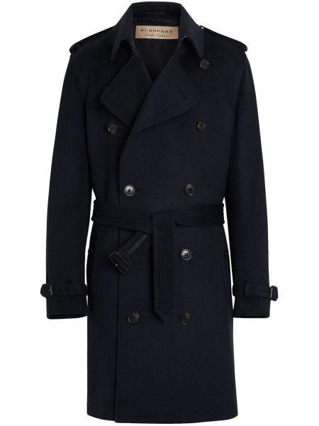 Темно-синее шерстяное пальто с поясом двубортное Burberry