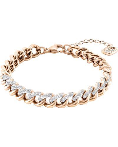 Золотой браслет металлический с камнями Swarovski