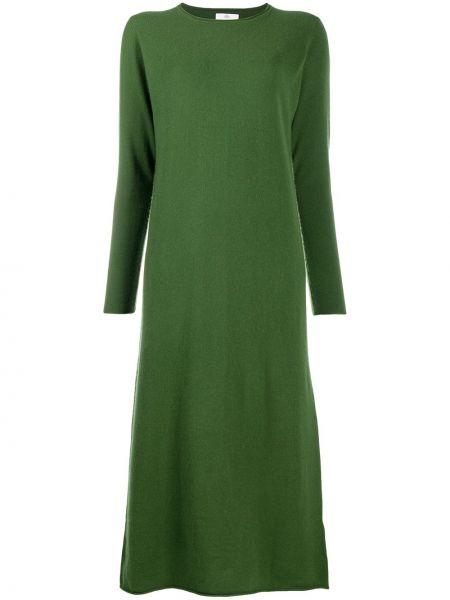 Зеленое шерстяное тонкое платье макси с вырезом Allude