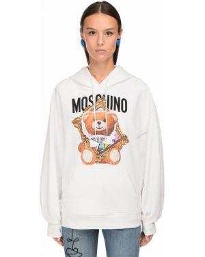 Хлопковая белая толстовка с капюшоном оверсайз Moschino