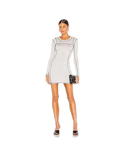 Серое трикотажное платье мини с подкладкой H:ours