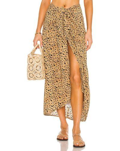 Кожаная юбка золотая с подкладкой Vix Swimwear