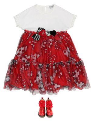 Хлопковое платье - белое Monnalisa