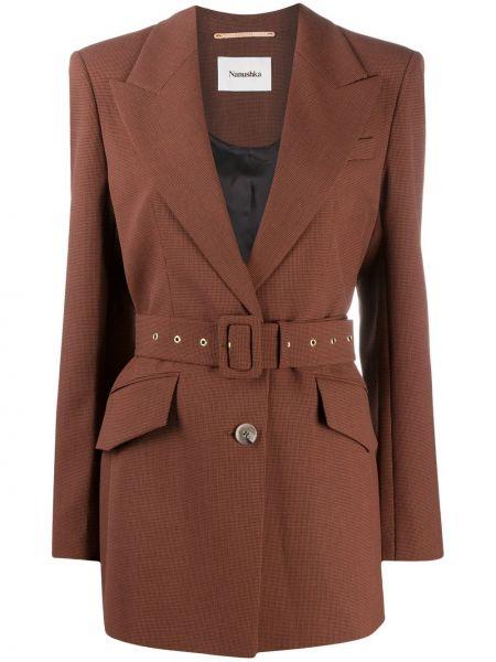 Красный кожаный удлиненный пиджак в клетку Nanushka