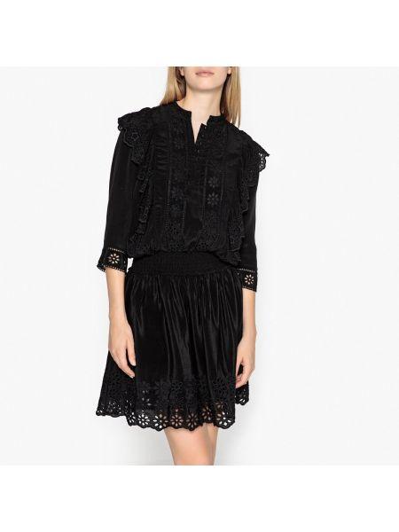 Платье мини с вышивкой с поясом Maison Scotch