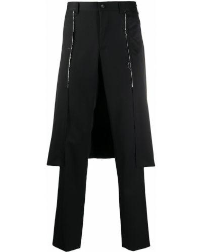 Брючная прямая черная юбка с поясом Comme Des Garçons