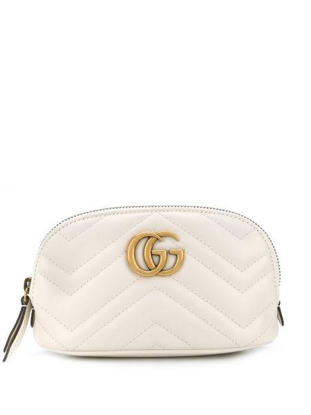 Beżowy skórzana torebka z prawdziwej skóry Gucci