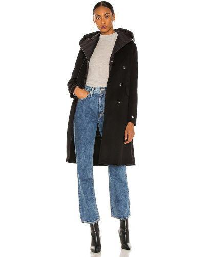 Шерстяное черное пальто с капюшоном Soia & Kyo