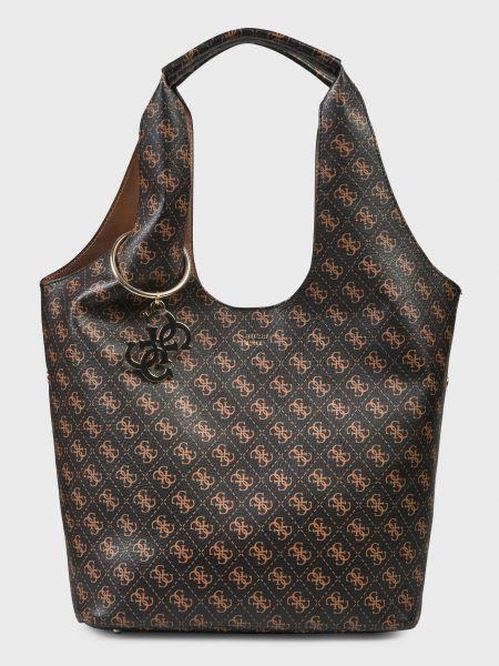 Коричневая кожаная сумка с карманами Guess