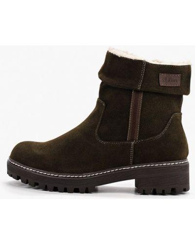 Ботинки на каблуке хаки S.oliver