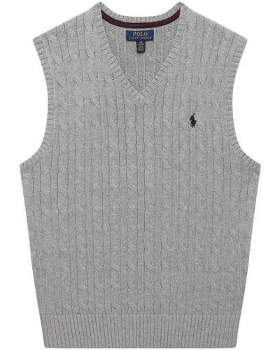 Прямая серая жилетка с V-образным вырезом Polo Ralph Lauren