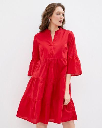 Красное прямое платье S.oliver