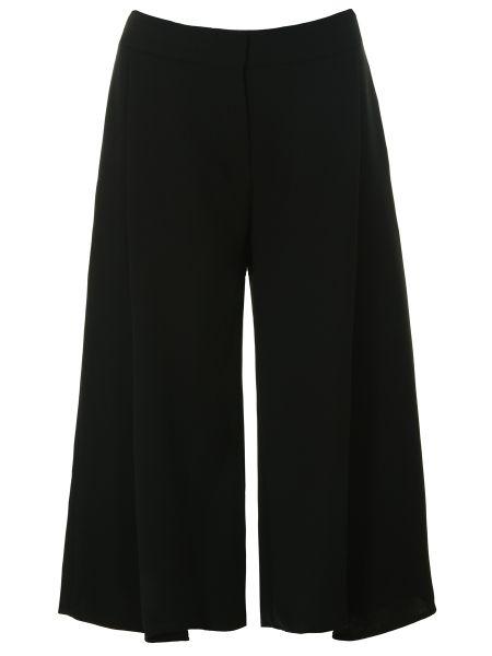 Шелковые черные кюлоты свободного кроя с поясом Victoria Beckham