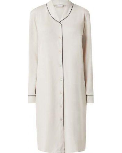 Biała koszula nocna z długimi rękawami rozkloszowana Hanro