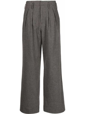 Серые брюки в клетку с карманами Folk