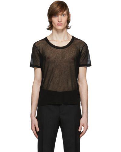 Z rękawami czarny koszula przezroczysty z kołnierzem Saint Laurent