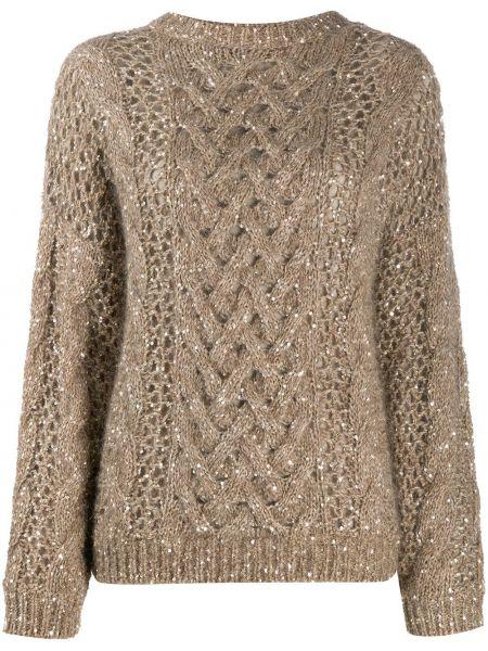 Кашемировый длинный свитер круглый с вырезом Brunello Cucinelli