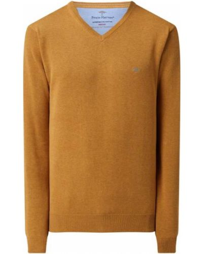 Sweter z dekoltem w serek - żółty Fynch-hatton