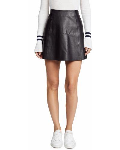 Черная кожаная юбка мини с подкладкой Veda