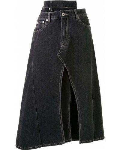 Черная классическая асимметричная юбка миди с разрезом Ground Zero