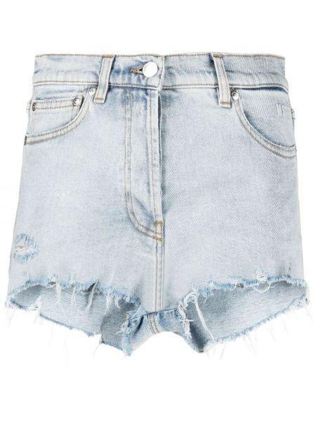 Синие хлопковые джинсовые шорты с карманами Msgm