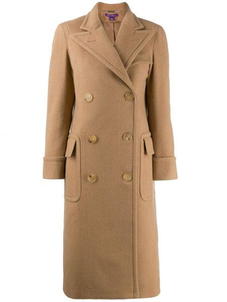 Кожаное пальто классическое с капюшоном двубортное Ralph Lauren Collection