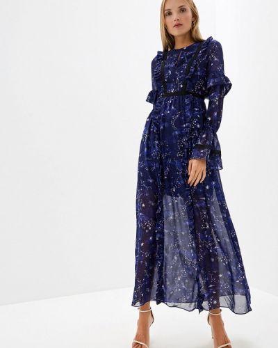 Вечернее платье осеннее синее Three Floor