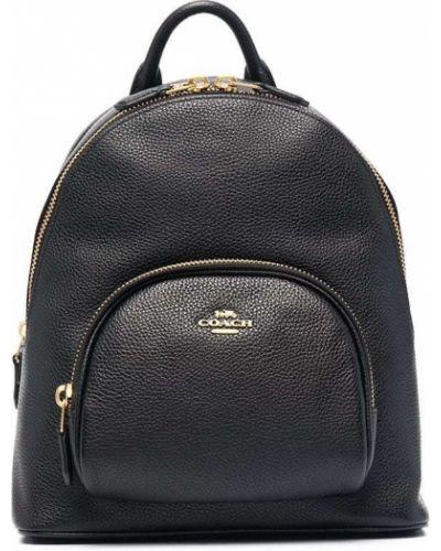 Кожаная черная сумка на молнии Coach