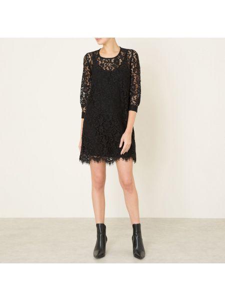 Черное прямое платье мини с V-образным вырезом на молнии Valerie Khalfon