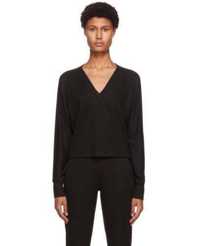 Czarny sweter z kołnierzem z dekoltem w szpic z długimi rękawami Rag & Bone