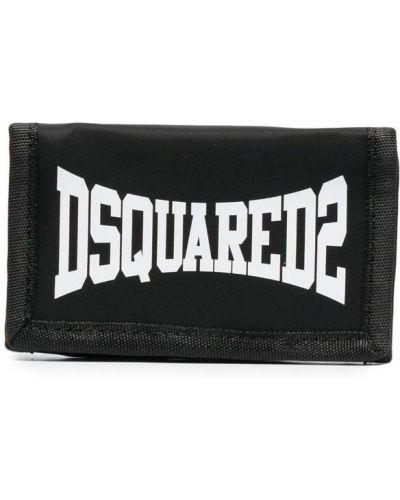 Черный кошелек на молнии с карманами Dsquared2 Kids