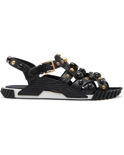 Skórzany czarny skórzany sandały z klamrą otwarty palec u nogi Dolce And Gabbana