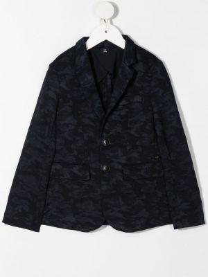Синий удлиненный пиджак с карманами на пуговицах Emporio Armani Kids