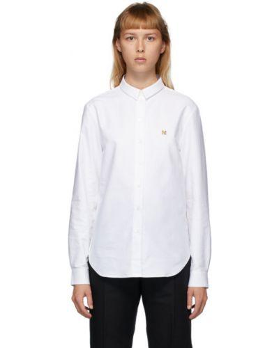 Хлопковая с рукавами белая оксфордская рубашка с воротником Maison Kitsuné