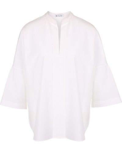 Блузка с воротником-стойкой с рюшами Loro Piana