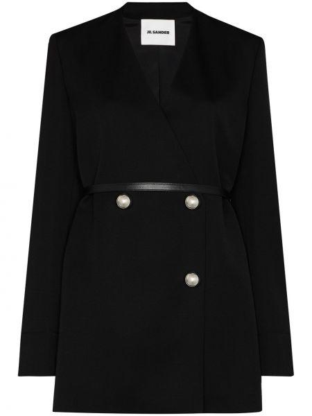 Платье-пиджак кожаный длинный черный пиджак Jil Sander