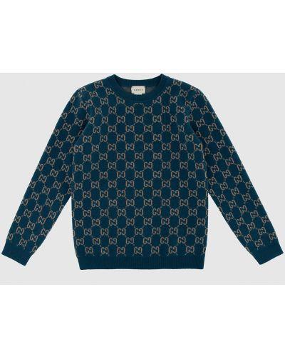 Синий шерстяной свитер Gucci