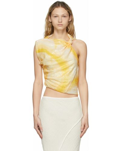 Żółta bluzka z siateczką bez rękawów Acne Studios