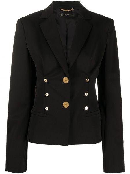 Однобортный черный пиджак с карманами Versace