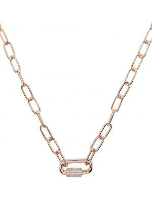 Naszyjnik łańcuch srebrny - różowy Apm Monaco
