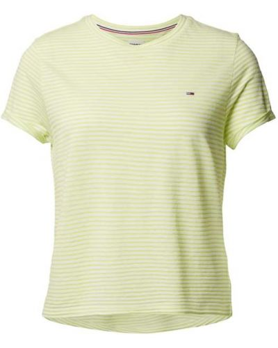 Żółty t-shirt w paski z wiskozy Tommy Jeans