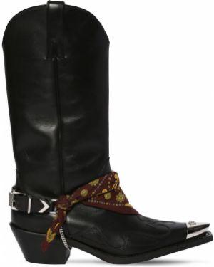 Ковбойские сапоги на шнуровке на каблуке Versace